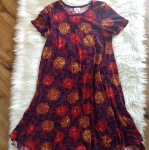 Lularoe Fall Maroon Burgundy Red Gold Roses Floral